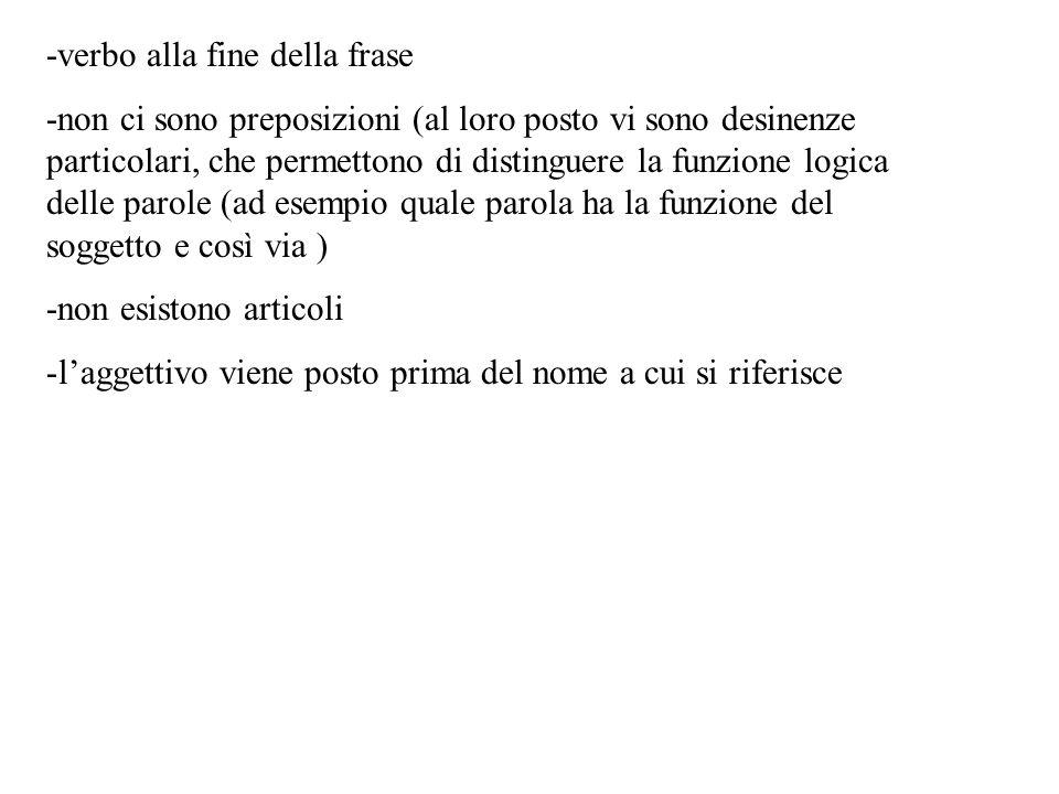 -verbo alla fine della frase