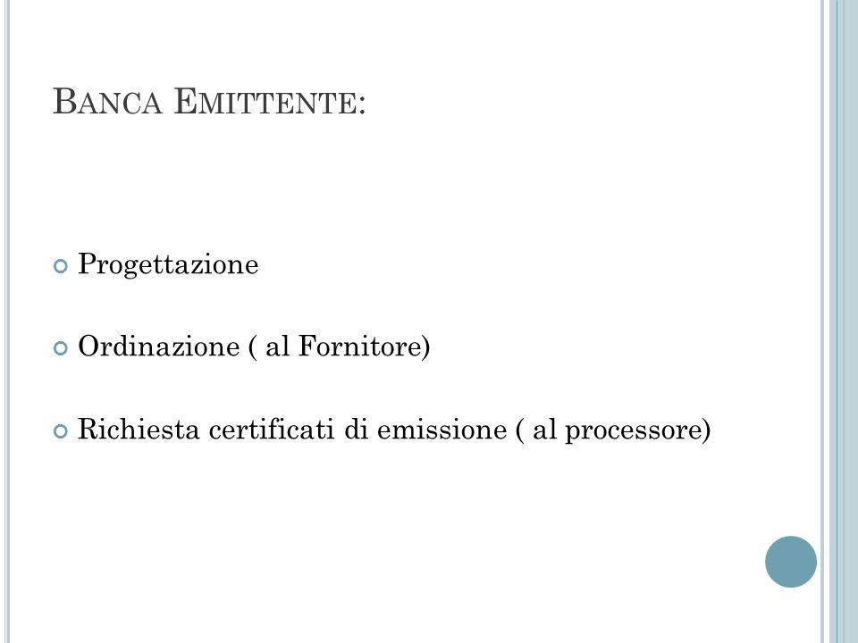 Banca Emittente: Progettazione Ordinazione ( al Fornitore)