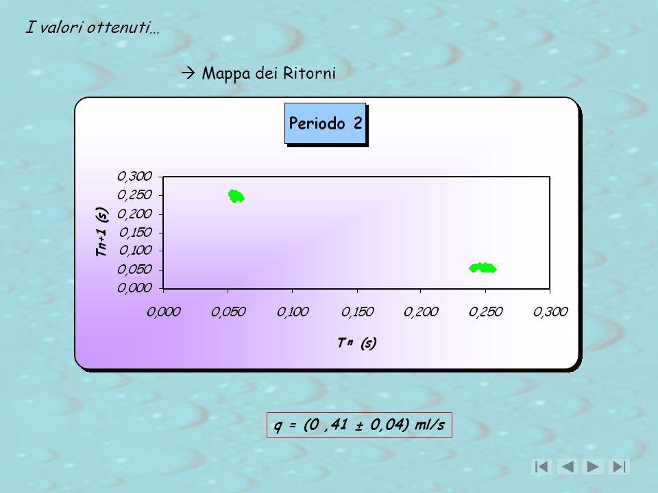 I valori ottenuti…  Mappa dei Ritorni q = (0 ,41 ± 0,04) ml/s