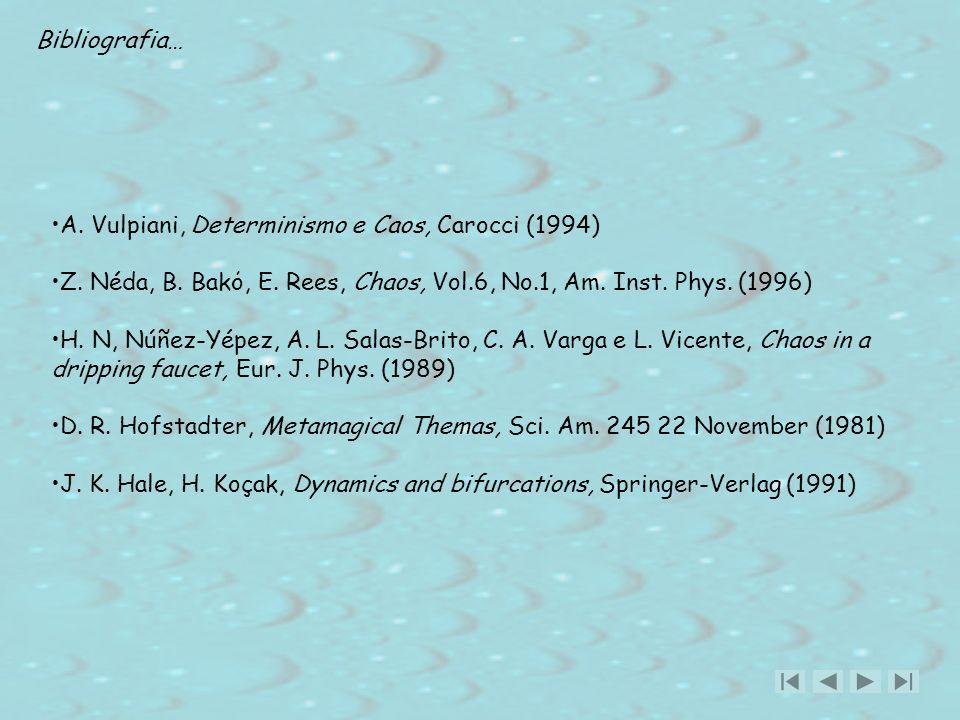 Bibliografia… A. Vulpiani, Determinismo e Caos, Carocci (1994) Z. Néda, B. Bakό, E. Rees, Chaos, Vol.6, No.1, Am. Inst. Phys. (1996)