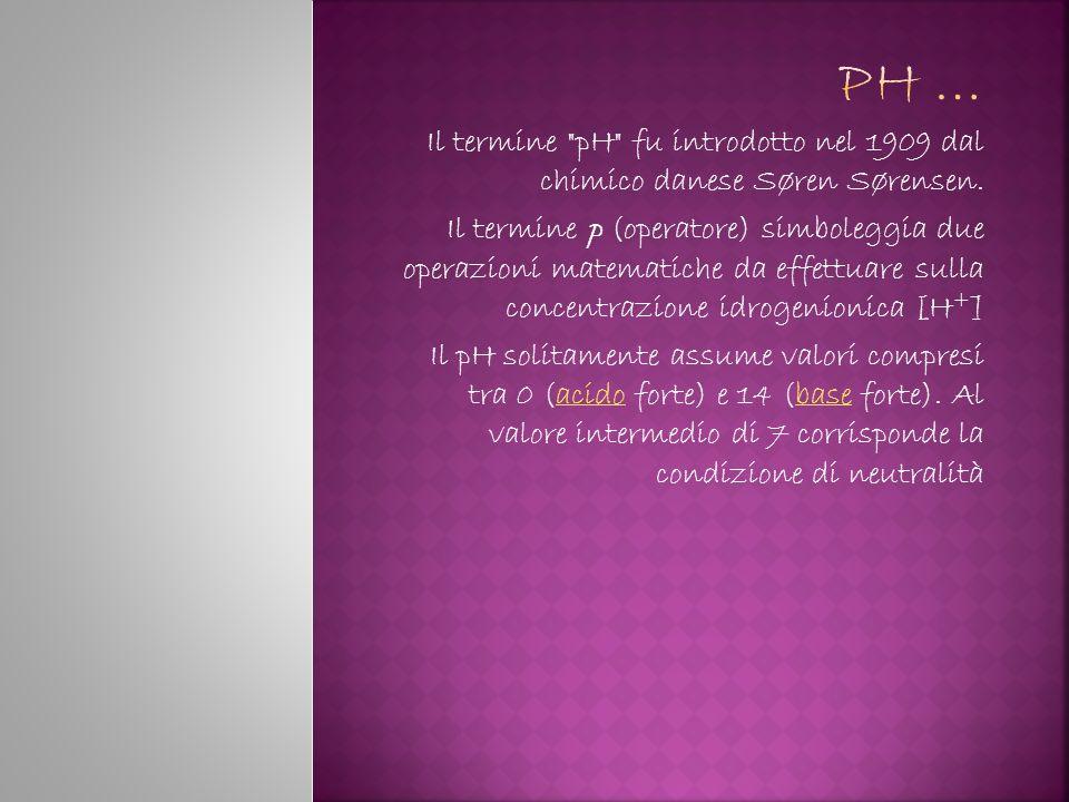 Ph … Il termine pH fu introdotto nel 1909 dal chimico danese Søren Sørensen.