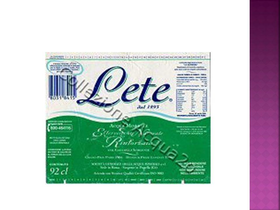 prodotti acidi come l'acqua Lete ph 6,2 acida
