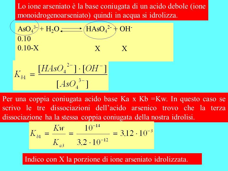 Lo ione arseniato è la base coniugata di un acido debole (ione monoidrogenoarseniato) quindi in acqua si idrolizza.