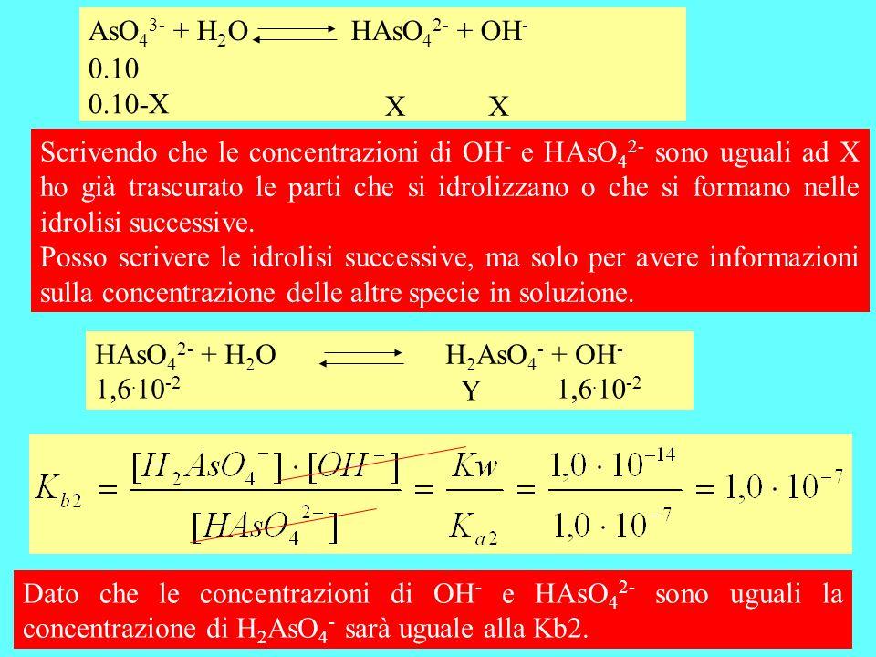 AsO43- + H2O HAsO42- + OH- 0.10. 0.10-X. X. X.
