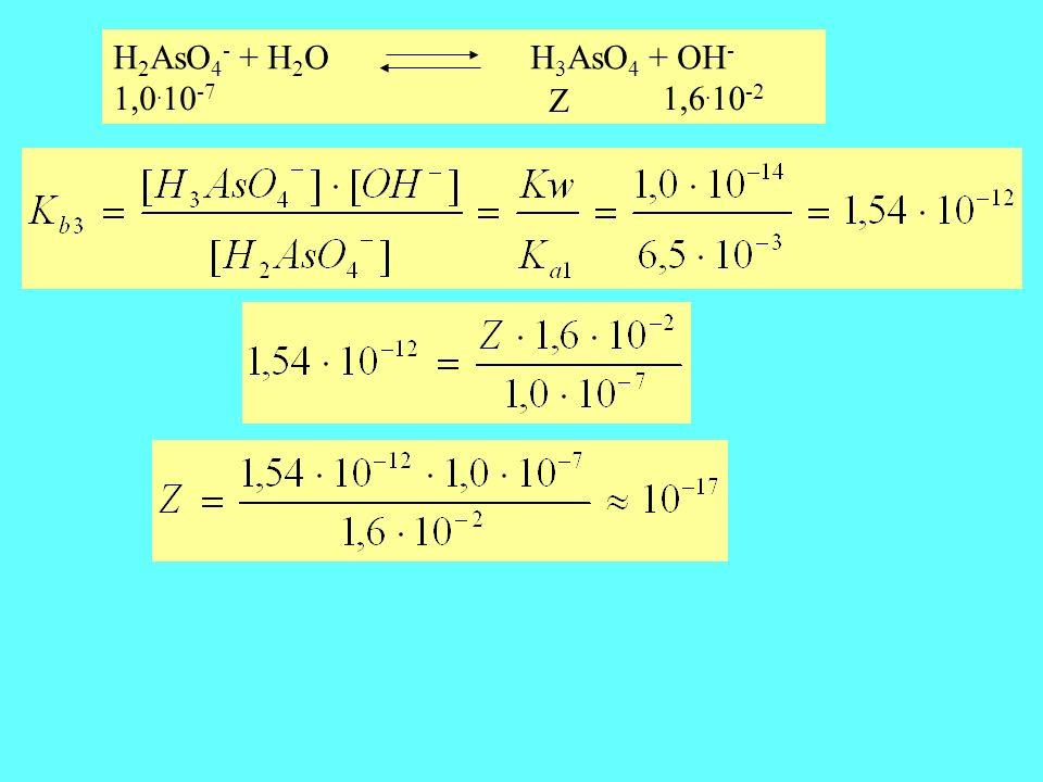 H2AsO4- + H2O H3AsO4 + OH- 1,0.10-7 Z 1,6.10-2