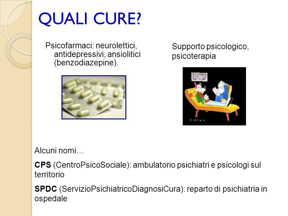 QUALI CURE Psicofarmaci: neurolettici, antidepressivi, ansiolitici (benzodiazepine). Supporto psicologico, psicoterapia.