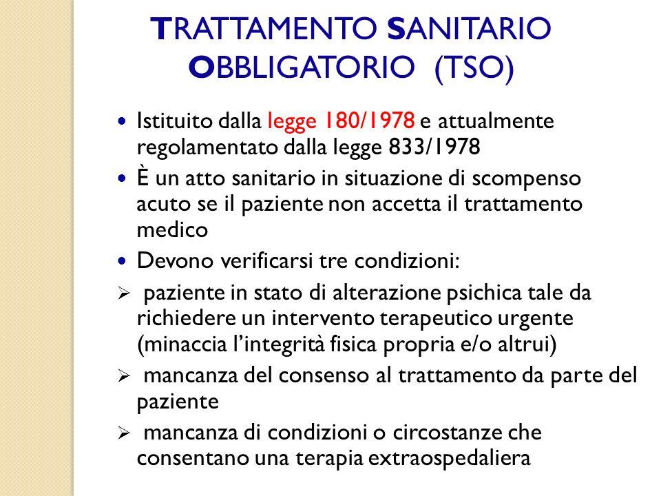 TRATTAMENTO SANITARIO OBBLIGATORIO (TSO)