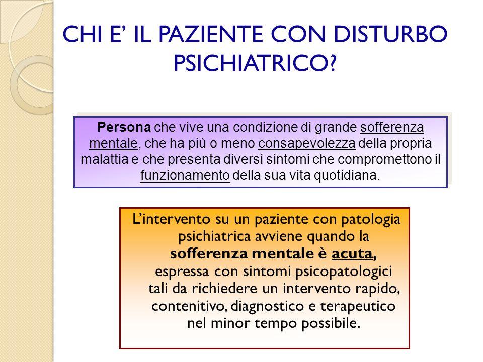 CHI E' IL PAZIENTE CON DISTURBO PSICHIATRICO