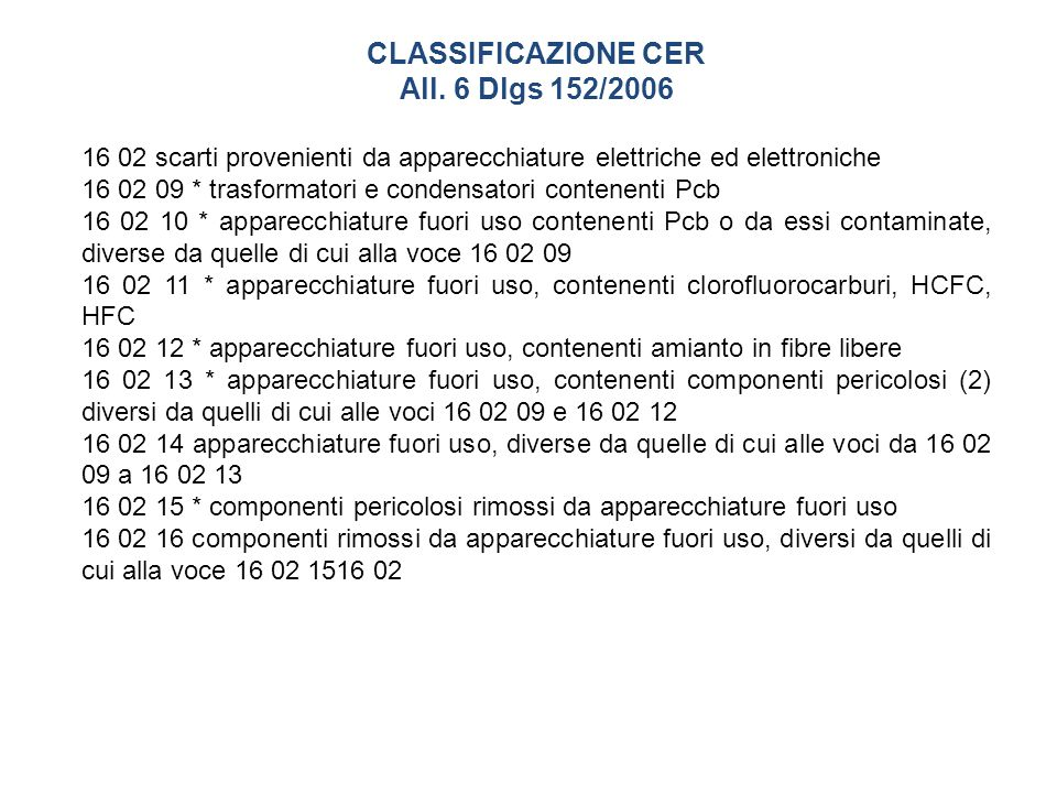 CLASSIFICAZIONE CER All. 6 Dlgs 152/2006