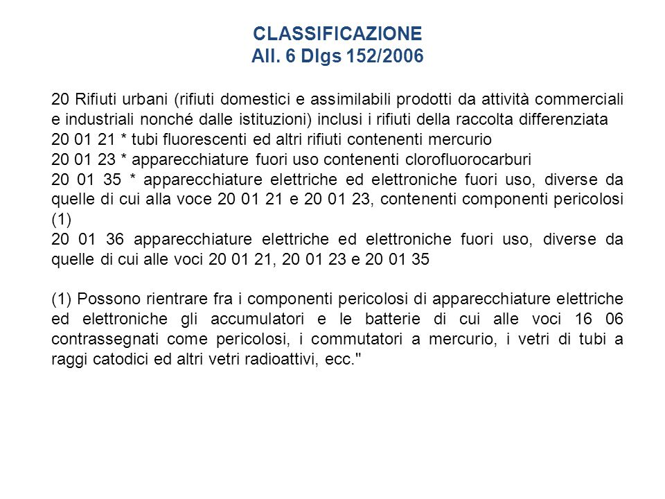 CLASSIFICAZIONE All. 6 Dlgs 152/2006