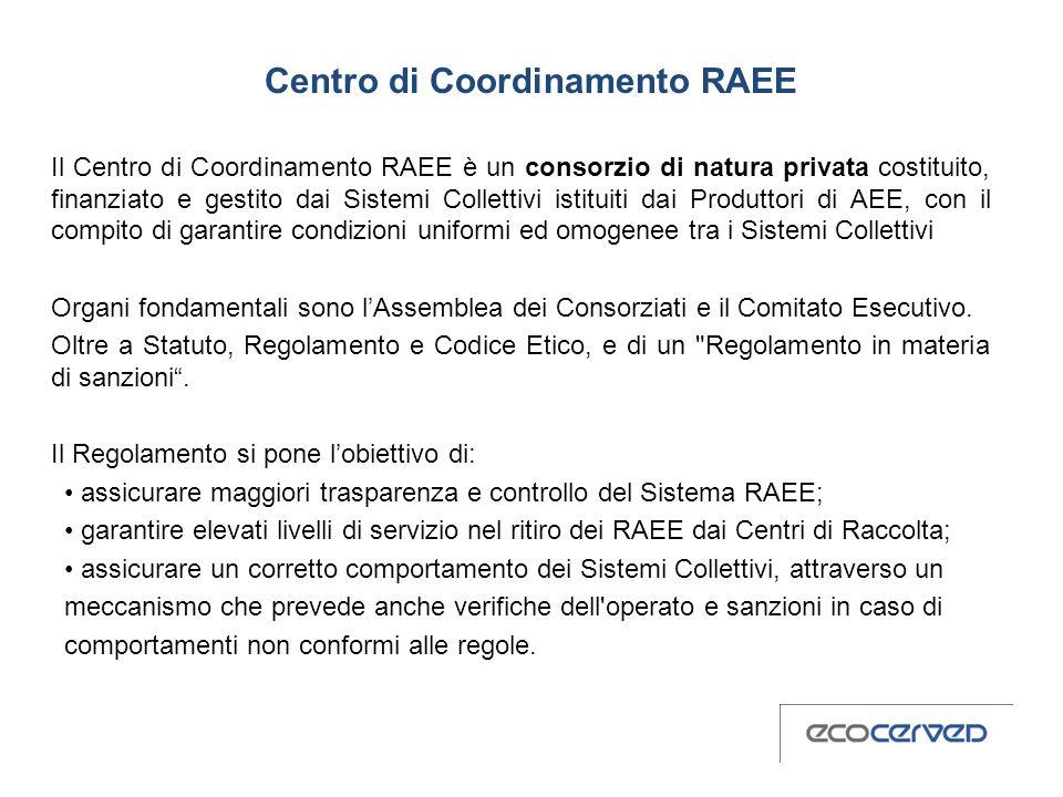 Centro di Coordinamento RAEE Il Centro di Coordinamento RAEE è un consorzio di natura privata costituito, finanziato e gestito dai Sistemi Collettivi istituiti dai Produttori di AEE, con il compito di garantire condizioni uniformi ed omogenee tra i Sistemi Collettivi Organi fondamentali sono l'Assemblea dei Consorziati e il Comitato Esecutivo. Oltre a Statuto, Regolamento e Codice Etico, e di un Regolamento in materia di sanzioni . Il Regolamento si pone l'obiettivo di: • assicurare maggiori trasparenza e controllo del Sistema RAEE; • garantire elevati livelli di servizio nel ritiro dei RAEE dai Centri di Raccolta; • assicurare un corretto comportamento dei Sistemi Collettivi, attraverso un meccanismo che prevede anche verifiche dell operato e sanzioni in caso di comportamenti non conformi alle regole.