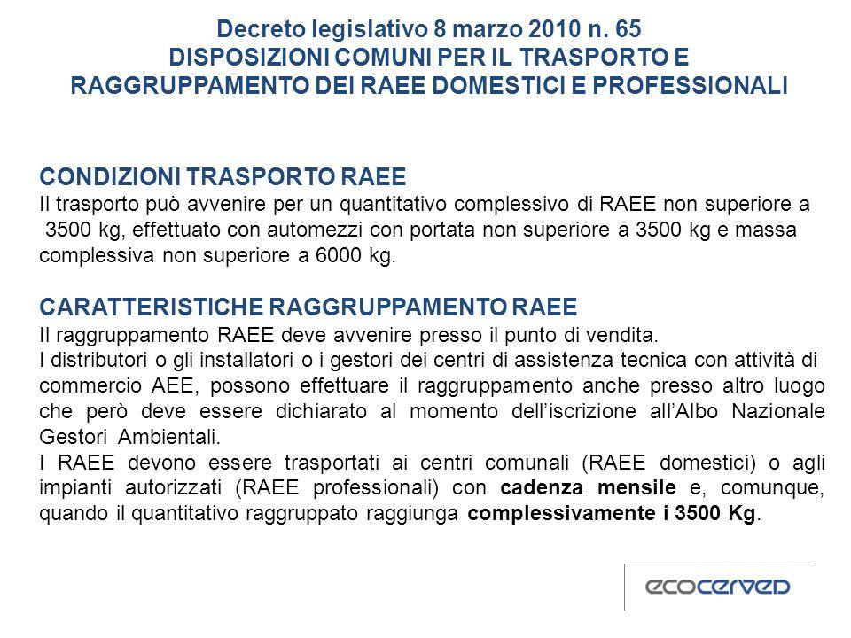 CONDIZIONI TRASPORTO RAEE