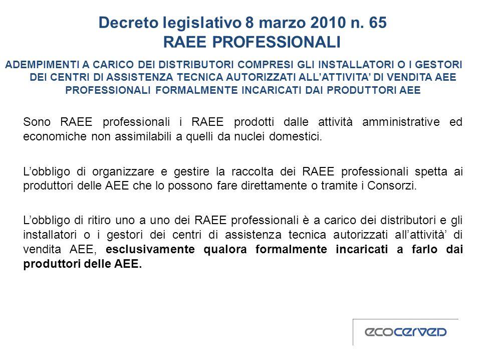Decreto legislativo 8 marzo 2010 n. 65 RAEE PROFESSIONALI