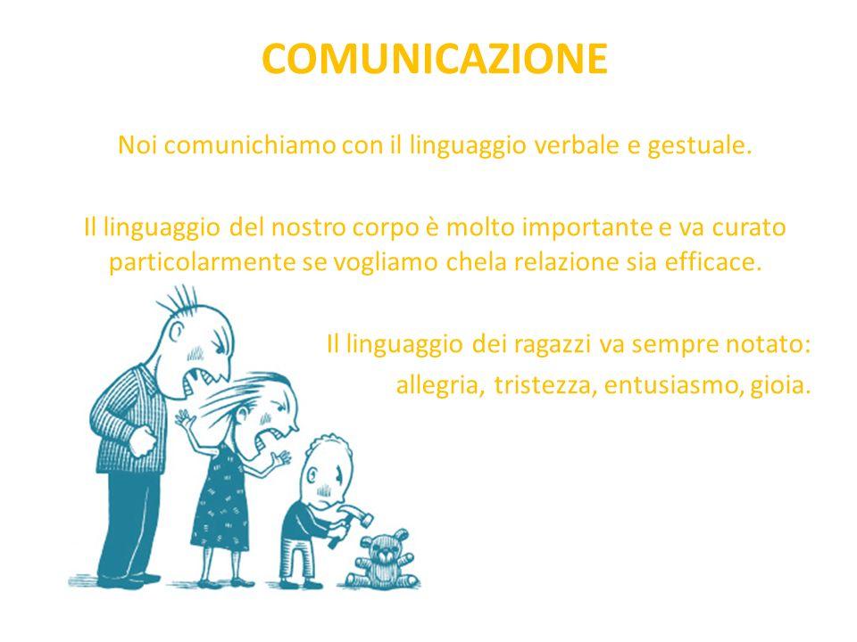 Noi comunichiamo con il linguaggio verbale e gestuale.