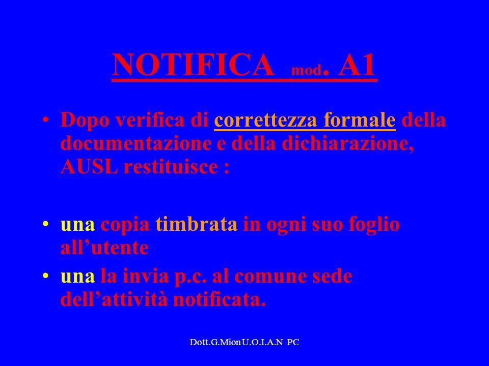 NOTIFICA mod. A1 Dopo verifica di correttezza formale della documentazione e della dichiarazione, AUSL restituisce :
