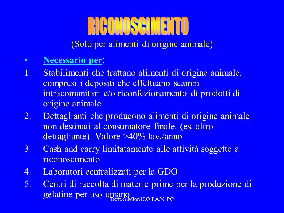 (Solo per alimenti di origine animale)