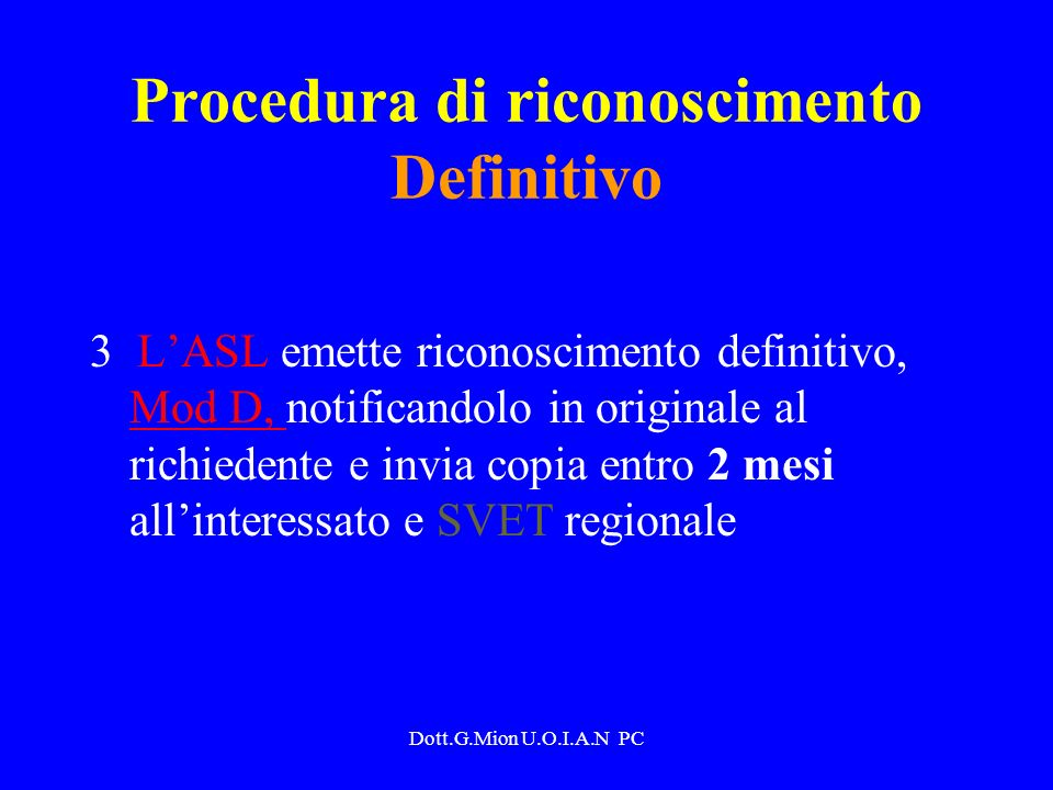 Procedura di riconoscimento Definitivo