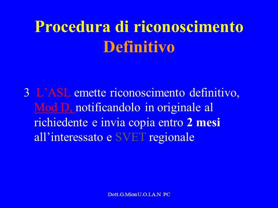 Procedura di riconoscimento Definitivo