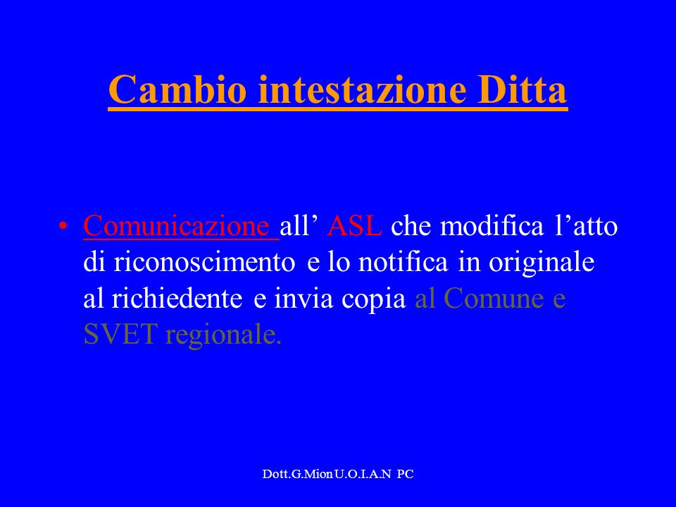 Cambio intestazione Ditta