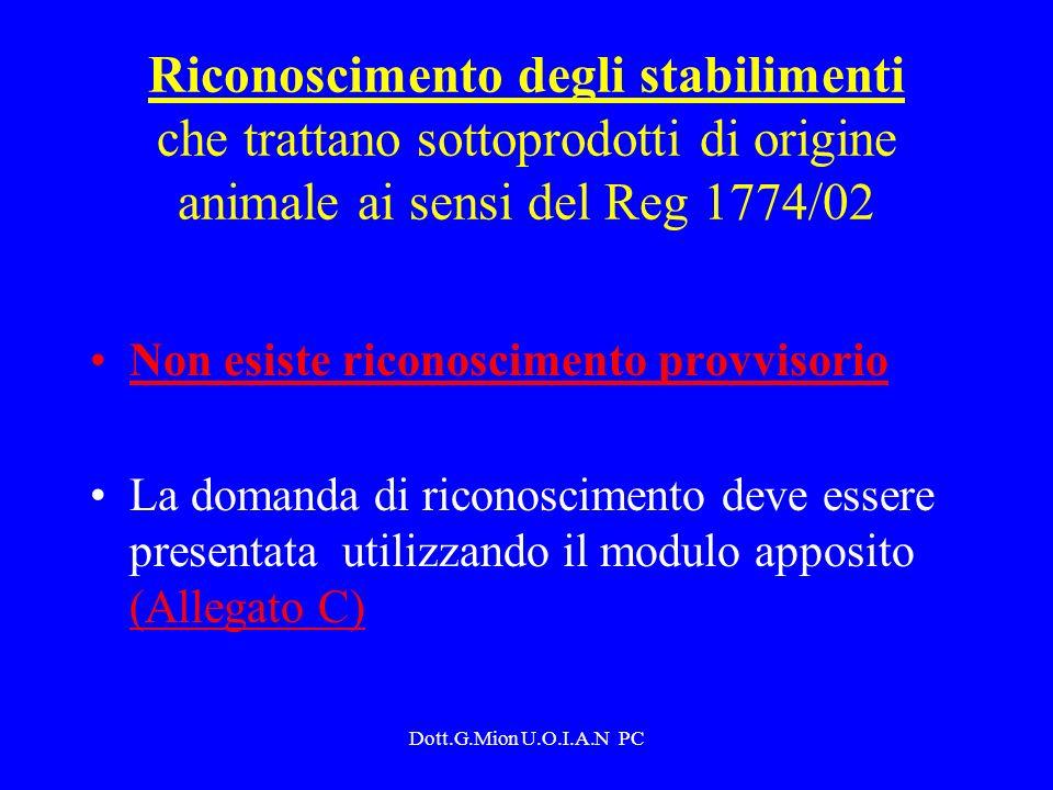 Riconoscimento degli stabilimenti che trattano sottoprodotti di origine animale ai sensi del Reg 1774/02