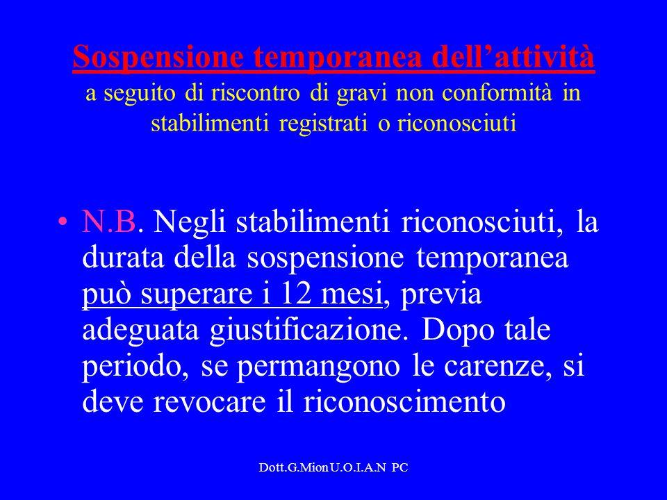 Sospensione temporanea dell'attività a seguito di riscontro di gravi non conformità in stabilimenti registrati o riconosciuti
