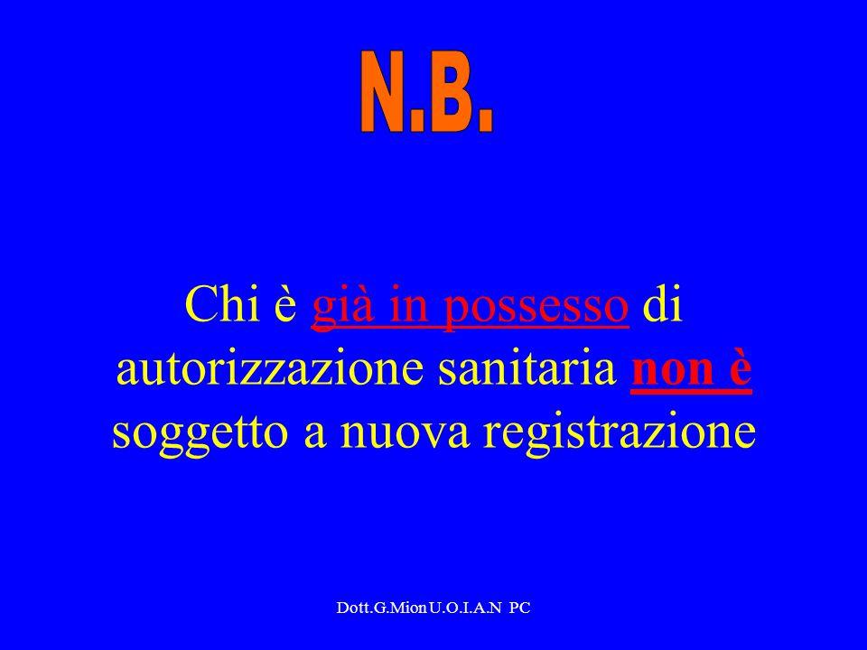 N.B. Chi è già in possesso di autorizzazione sanitaria non è soggetto a nuova registrazione.