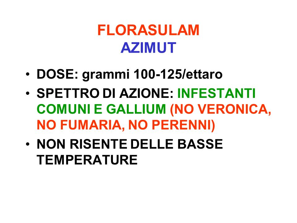 FLORASULAM AZIMUT DOSE: grammi 100-125/ettaro