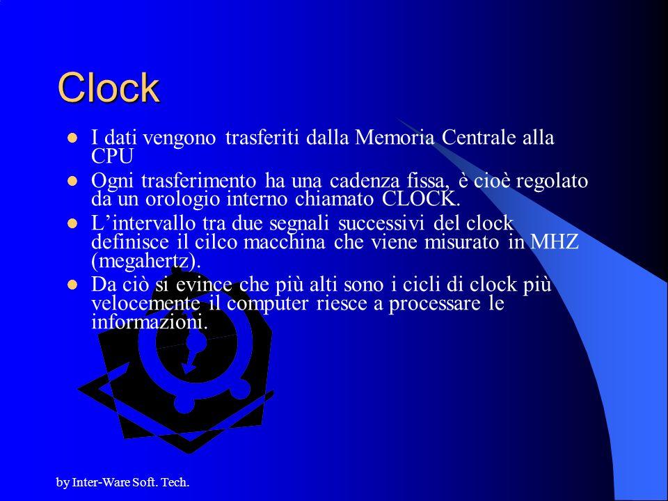 Clock I dati vengono trasferiti dalla Memoria Centrale alla CPU