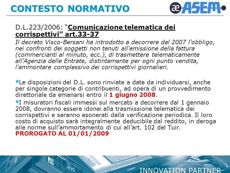 CONTESTO NORMATIVO D.L.223/2006: Comunicazione telematica dei corrispettivi art.33-37.