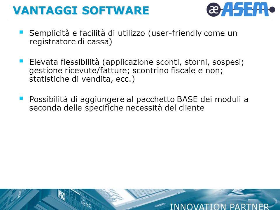 VANTAGGI SOFTWARE Semplicità e facilità di utilizzo (user-friendly come un registratore di cassa)