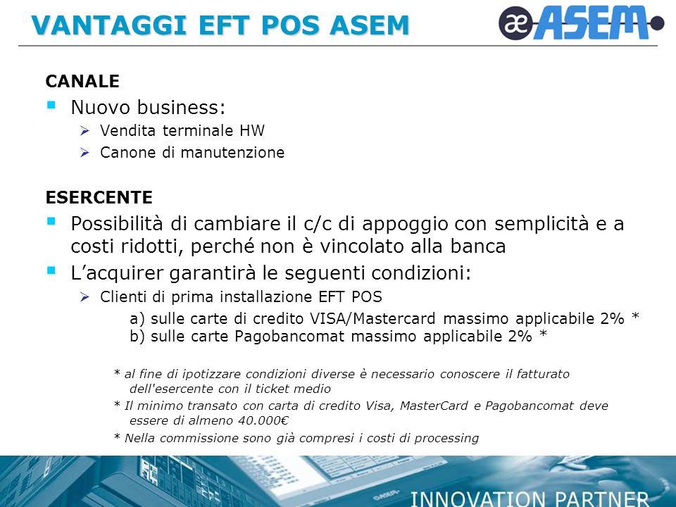 VANTAGGI EFT POS ASEM Nuovo business: