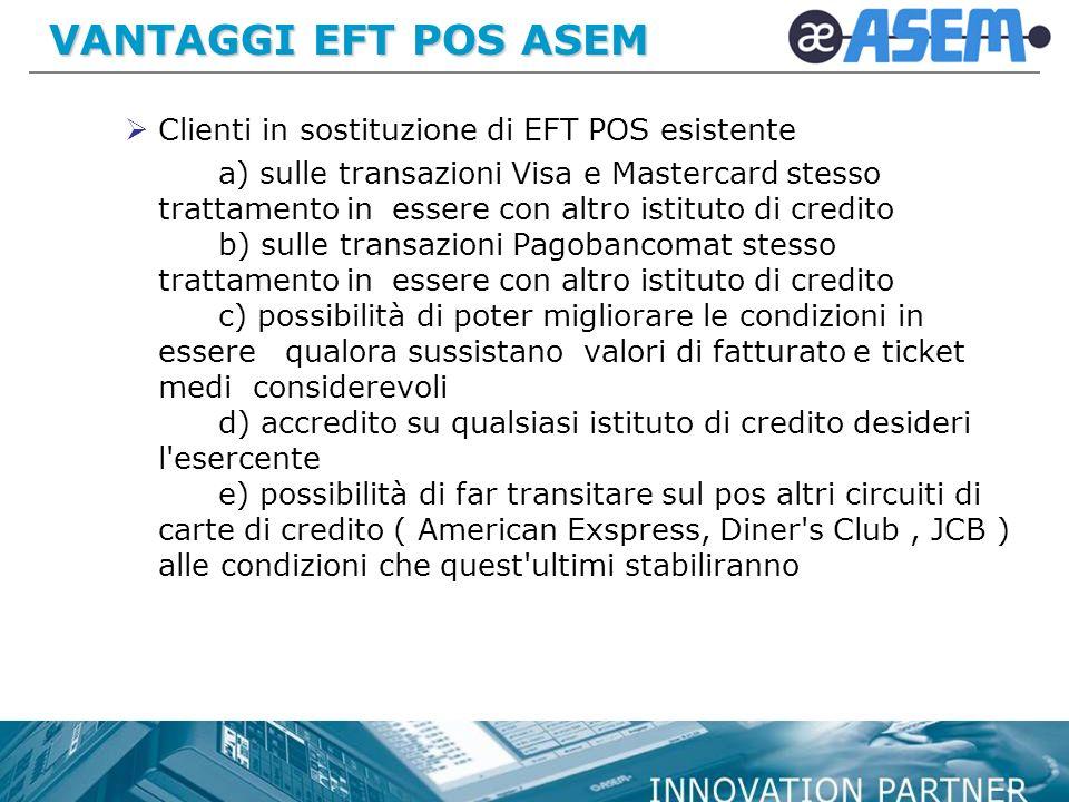 VANTAGGI EFT POS ASEM Clienti in sostituzione di EFT POS esistente