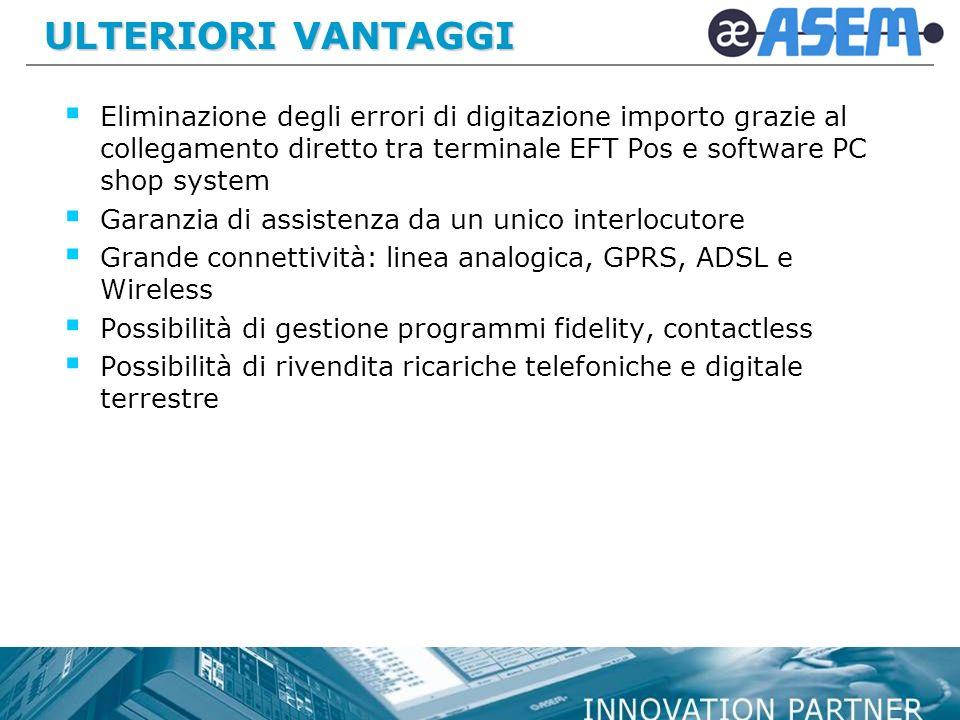 ULTERIORI VANTAGGI Eliminazione degli errori di digitazione importo grazie al collegamento diretto tra terminale EFT Pos e software PC shop system.