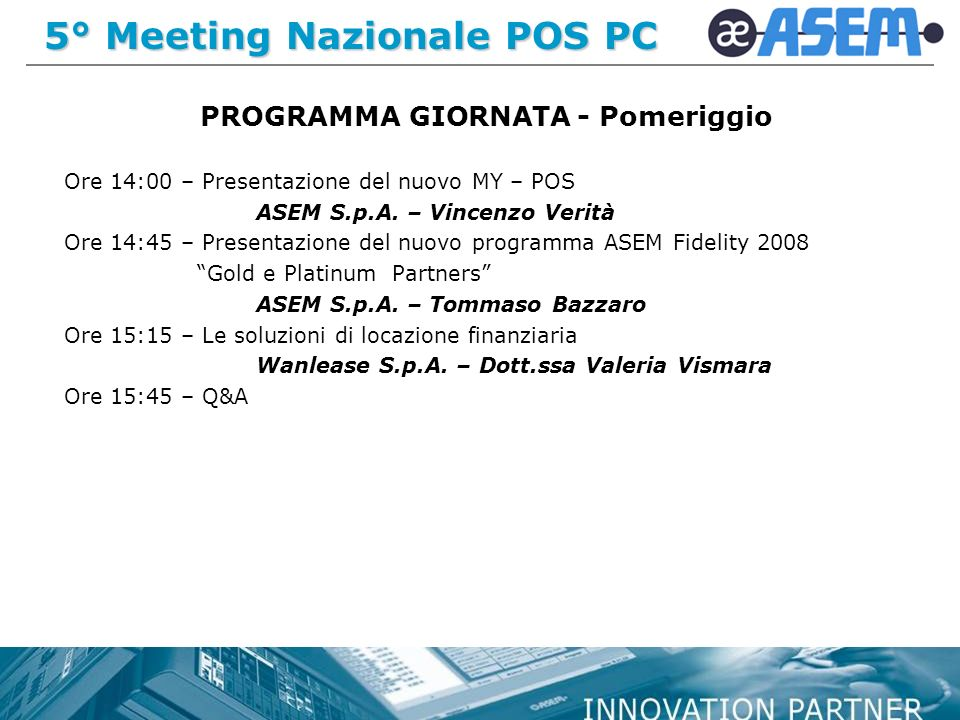 5° Meeting Nazionale POS PC