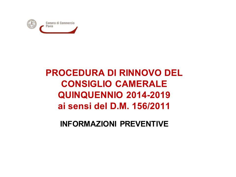 PROCEDURA DI RINNOVO DEL CONSIGLIO CAMERALE QUINQUENNIO 2014-2019 ai sensi del D.M.