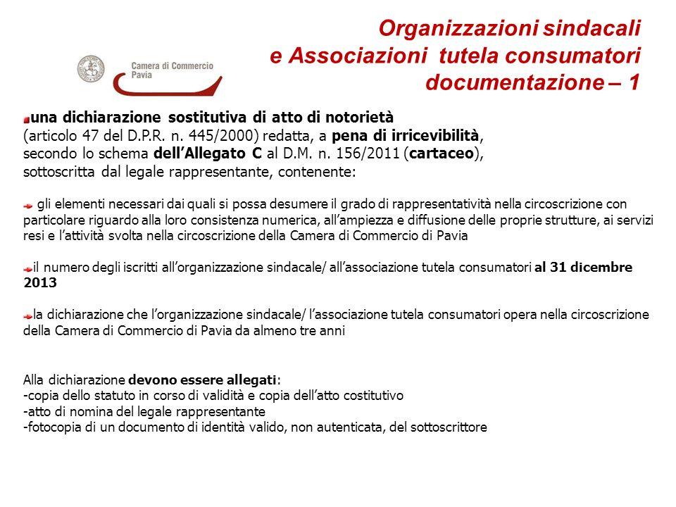Organizzazioni sindacali. e Associazioni tutela consumatori