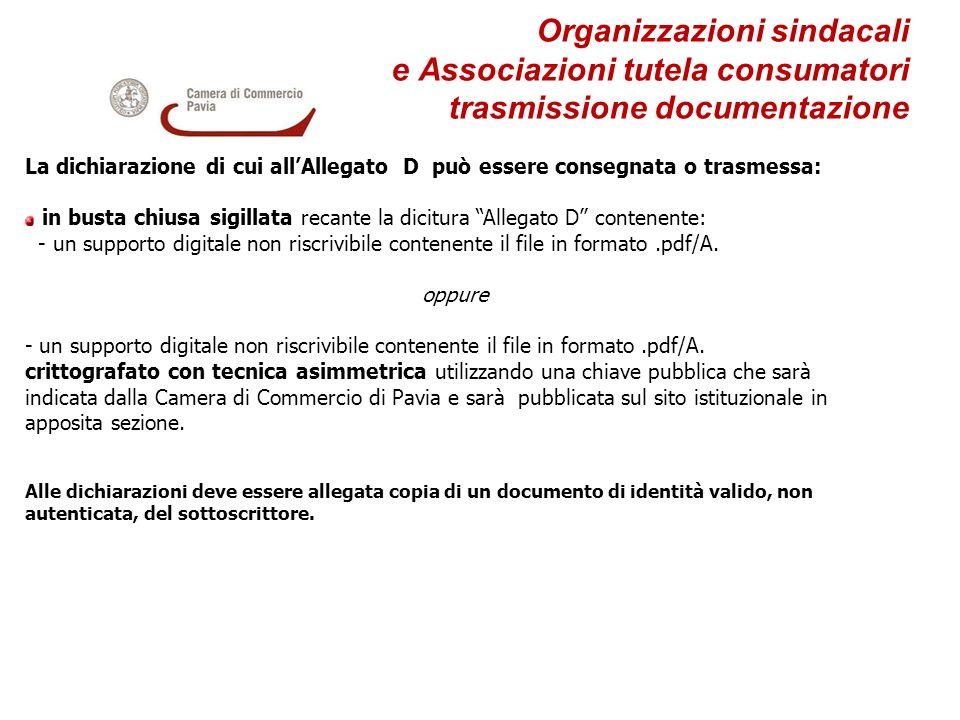 Organizzazioni sindacali e Associazioni tutela consumatori trasmissione documentazione