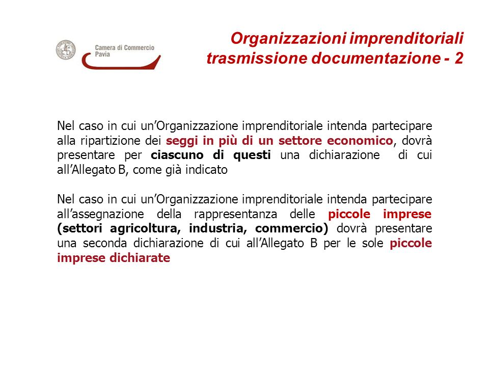 Organizzazioni imprenditoriali trasmissione documentazione - 2
