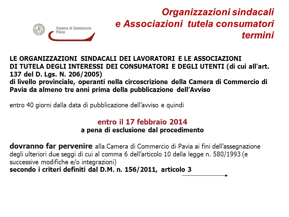 Organizzazioni sindacali e Associazioni tutela consumatori termini
