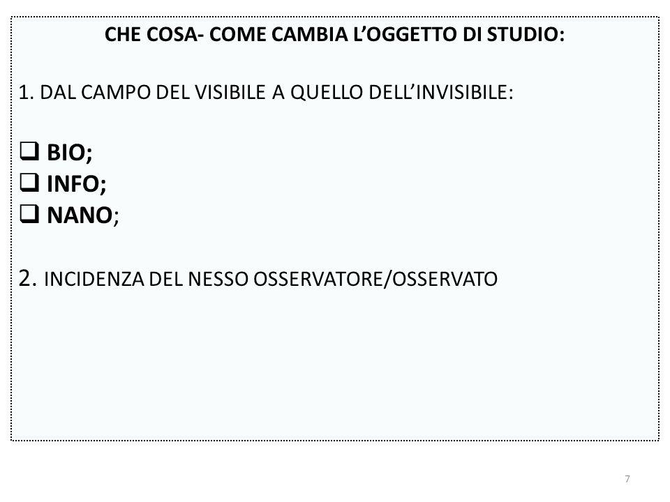 CHE COSA- COME CAMBIA L'OGGETTO DI STUDIO: