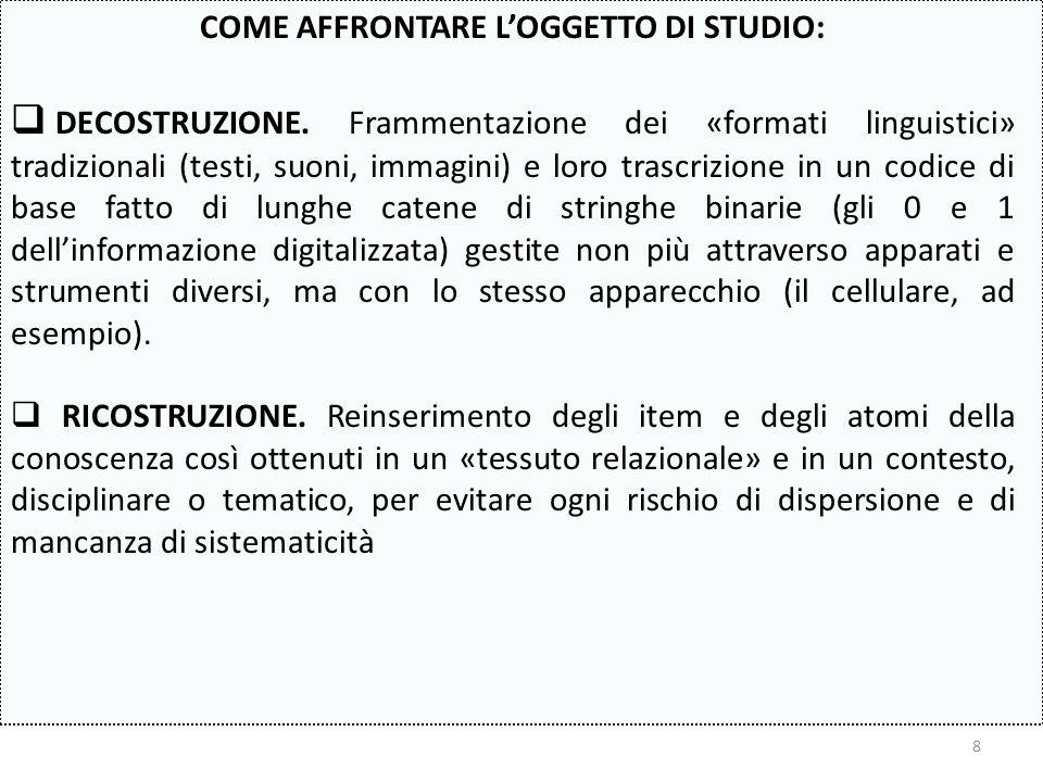 COME AFFRONTARE L'OGGETTO DI STUDIO: