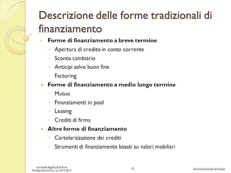 Descrizione delle forme tradizionali di finanziamento