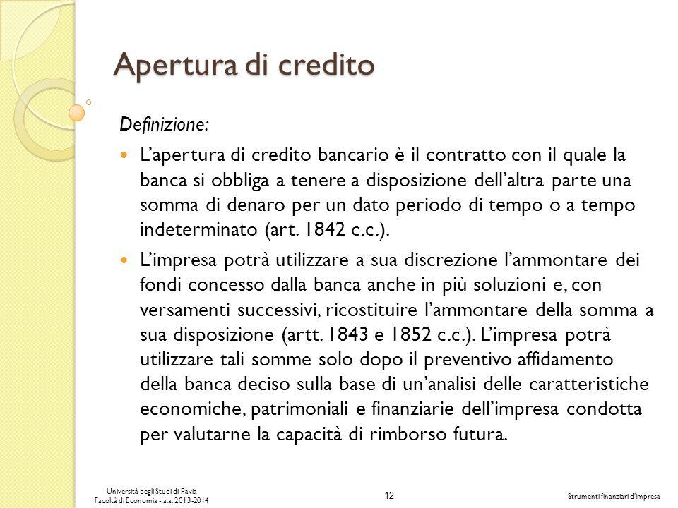 Apertura di credito Definizione: