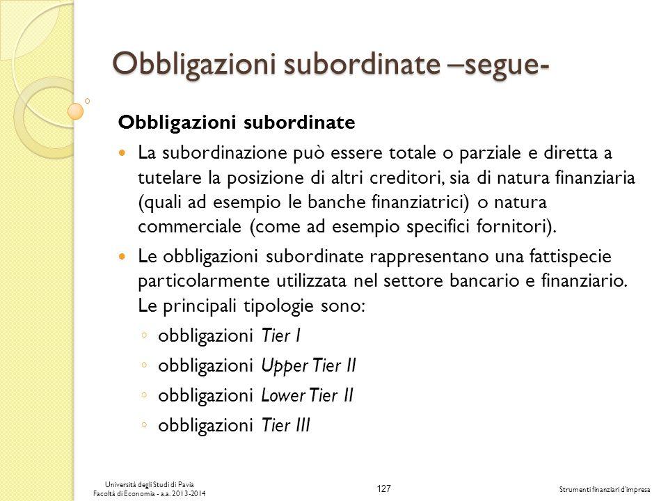 Obbligazioni subordinate –segue-
