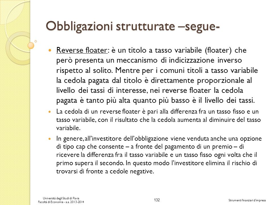 Obbligazioni strutturate –segue-