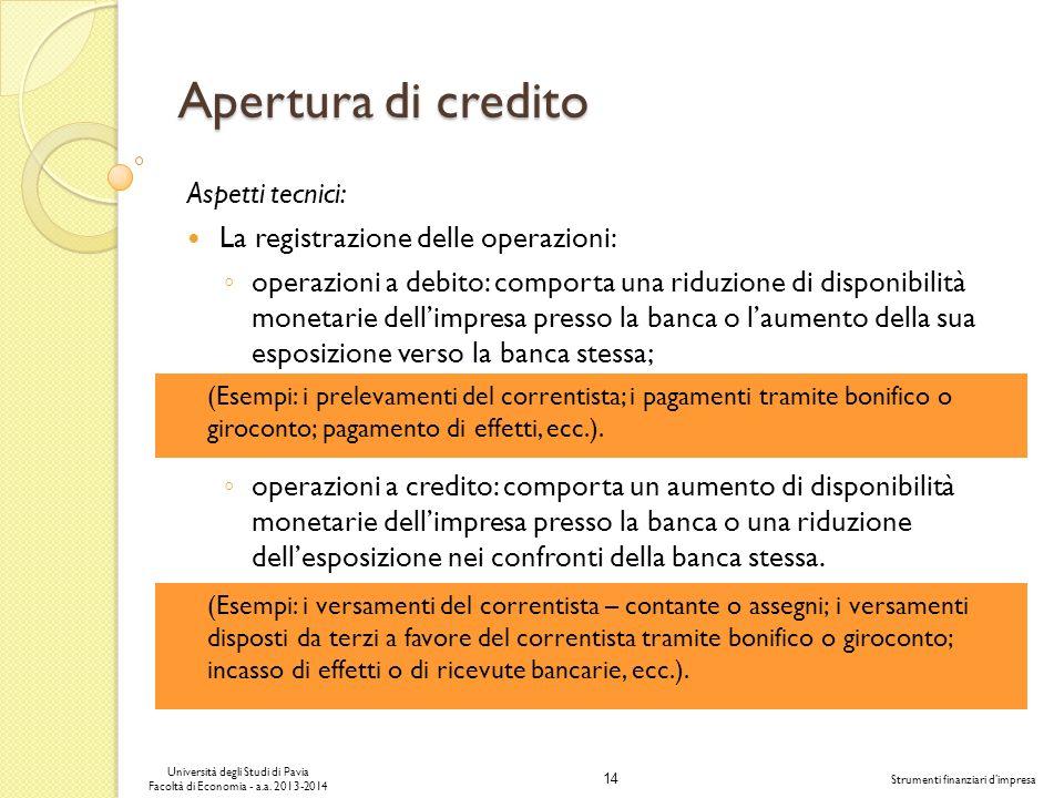 Apertura di credito Aspetti tecnici: