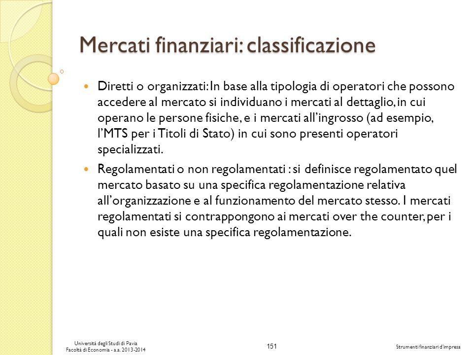 Mercati finanziari: classificazione