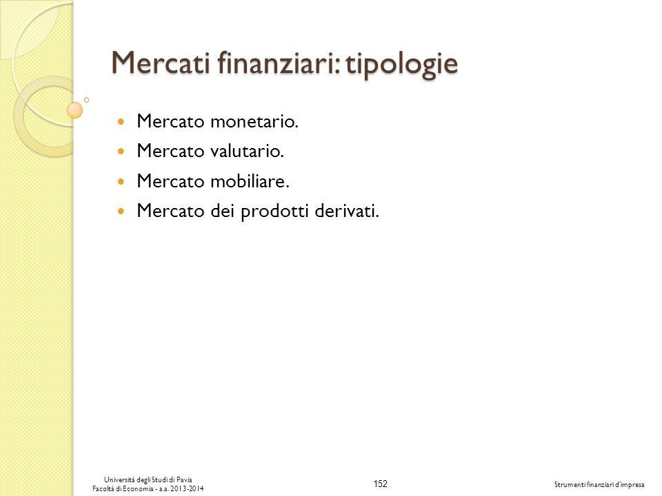 Mercati finanziari: tipologie