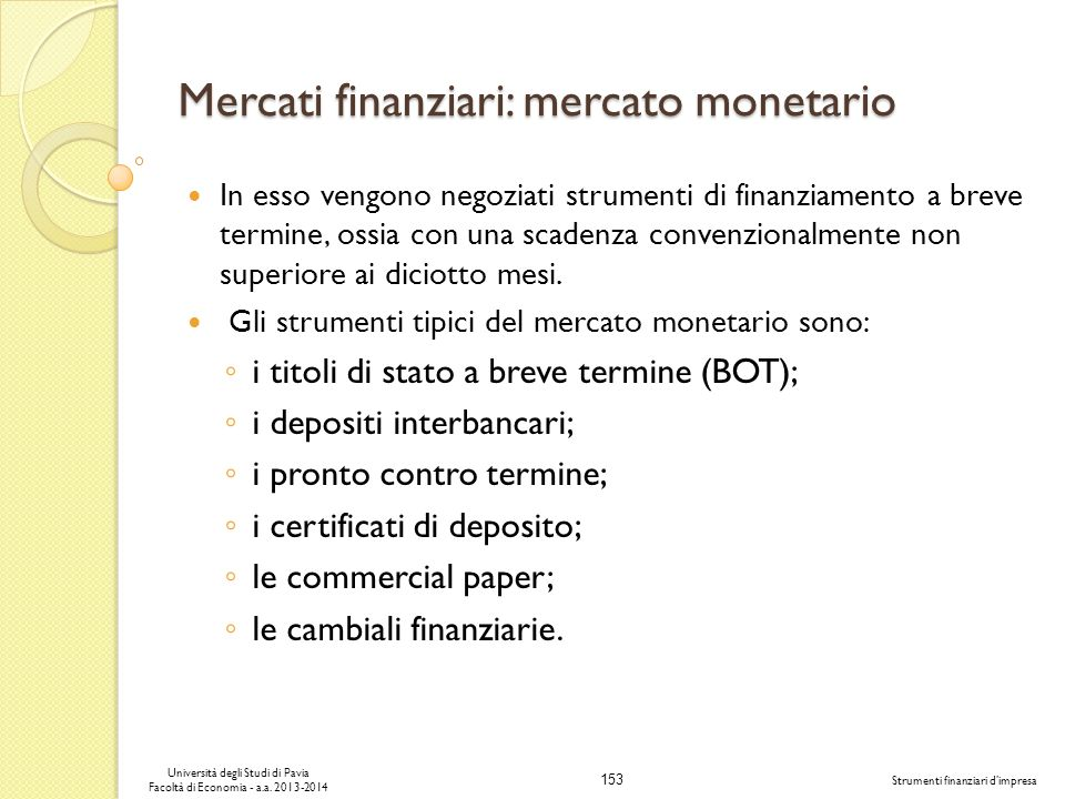 Mercati finanziari: mercato monetario