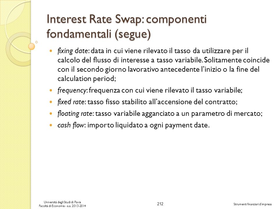 Interest Rate Swap: componenti fondamentali (segue)